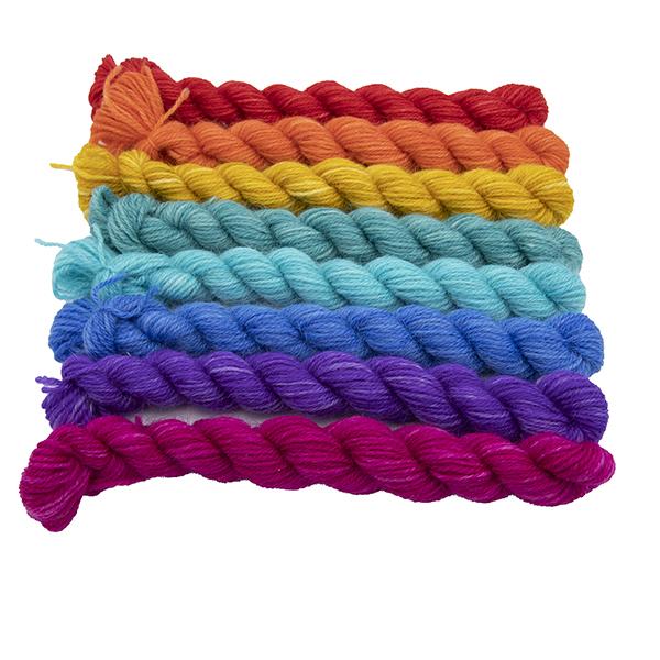 Set of eight mini skeins in Pride Rainbow