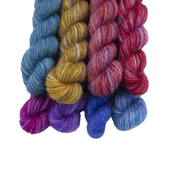 Set of eight mini skeins in Purple Pride Rainbow