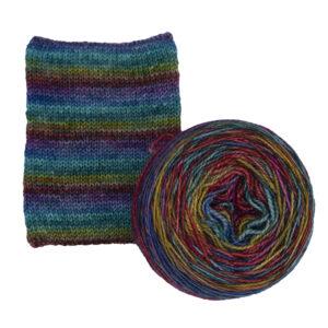 emerald rainbow self striping sock yarn british bfl nylon hand dyed in yorkshire uk