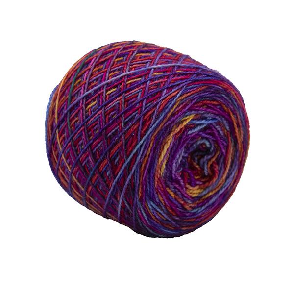 pink rainbow self striping sock yarn british bfl nylon hand dyed in yorkshire uk