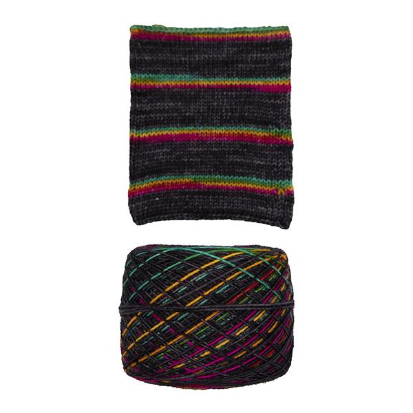 printer ink and black self striping sock yarn british bfl nylon hand dyed in yorkshire uk