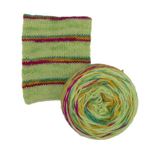 printer ink and lime self striping sock yarn british bfl nylon hand dyed in yorkshire uk