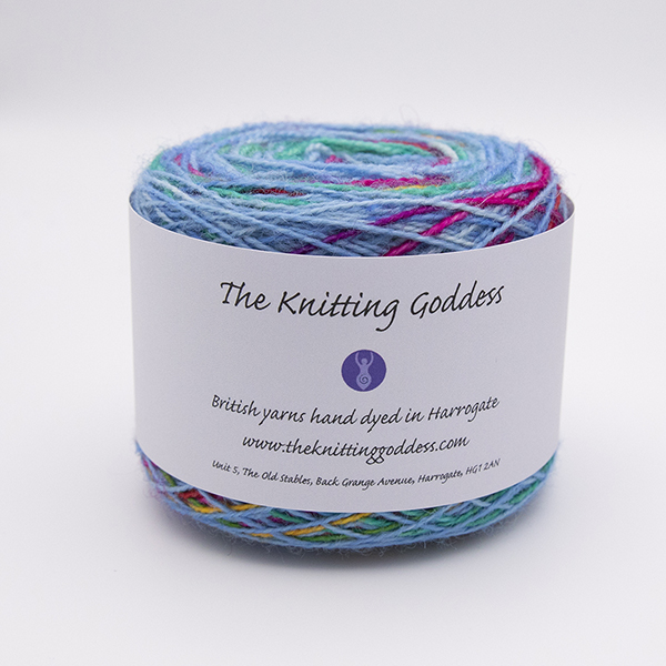 printer ink and sky blue self striping sock yarn british bfl nylon hand dyed in yorkshire uk