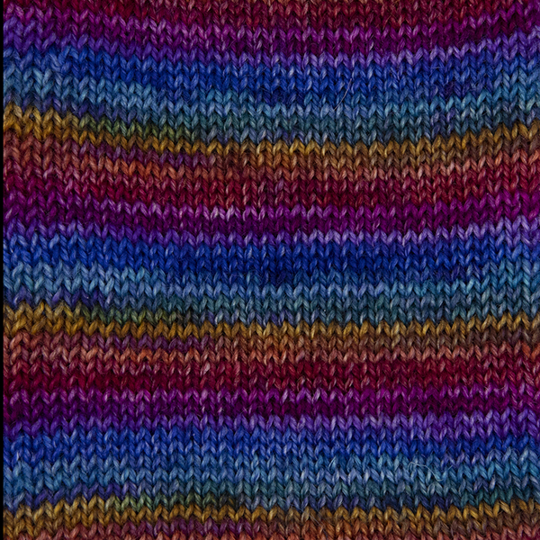 purple rainbow self striping sock yarn british bfl nylon hand dyed in yorkshire uk