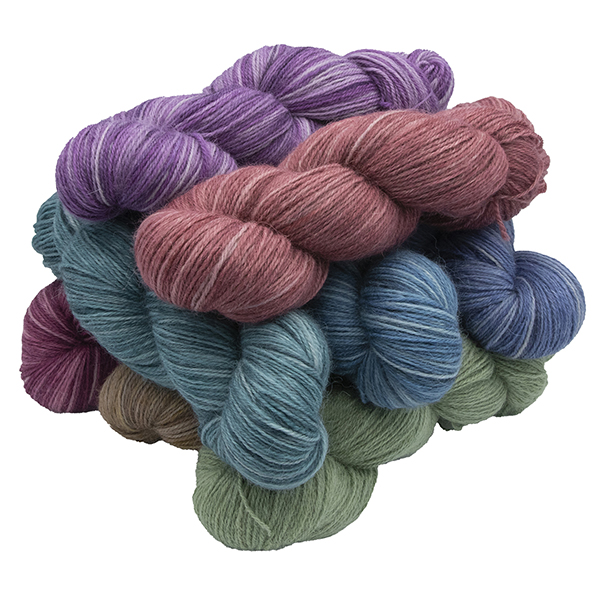 Skeins of hand dyed britsock yarn - silver floral rainbow