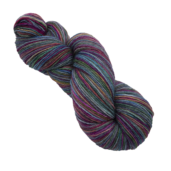 Skein of hand dyed yarn in silver rainbow
