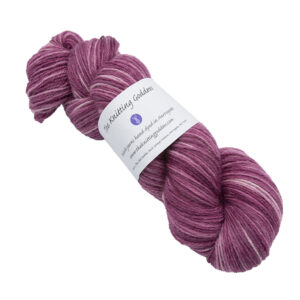 Skein of hand dyed britsock yarn - silver rose