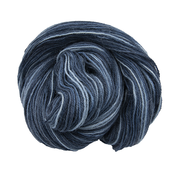 Skein of hand dyed yarn in superhero genes collective (different blues)