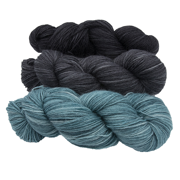 three skeins of hand dyed yarn - silver hydrangea, charcoal and black