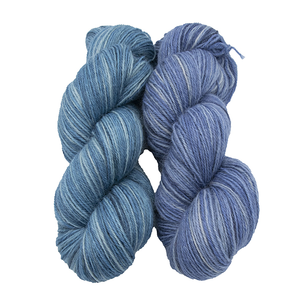 skeins of hand dyed yarn - silver bluebell and silver hyacinth