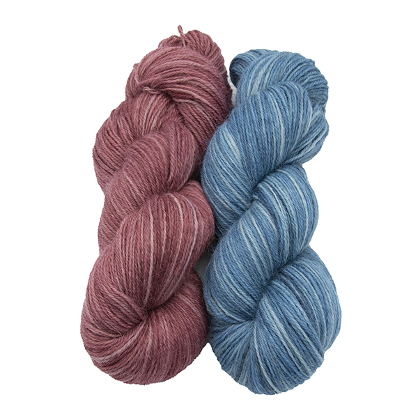 skeins of hand dyed yarn - silver geranium and silver bluebell