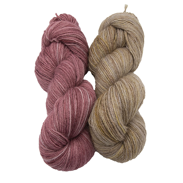 skeins of hand dyed yarn - silver geranium and silver marigold