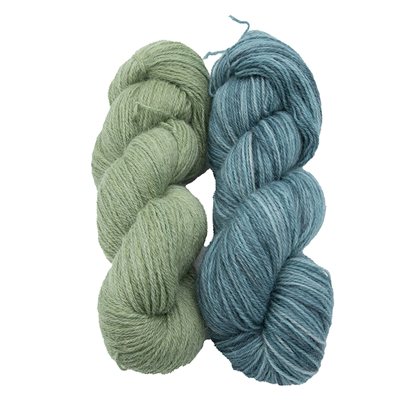 skeins of hand dyed yarn - silver hellebore and silver hydrangea