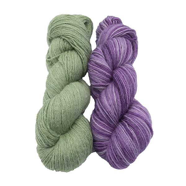 skeins of hand dyed yarn - silver hellebore and silver wisteria