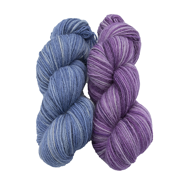 skeins of hand dyed yarn - silver hyacinth and silver wisteria