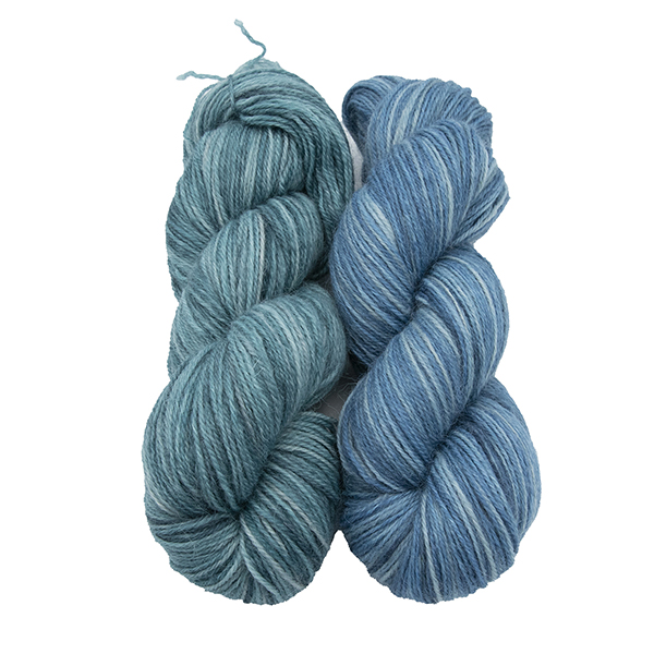 skeins of hand dyed yarn - silver hydrangea and silver bluebell