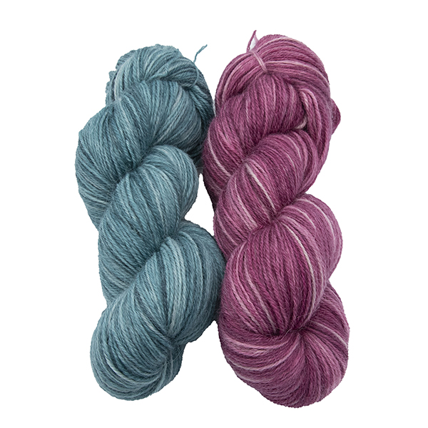 skeins of hand dyed yarn - silver hydrangea and silver rose