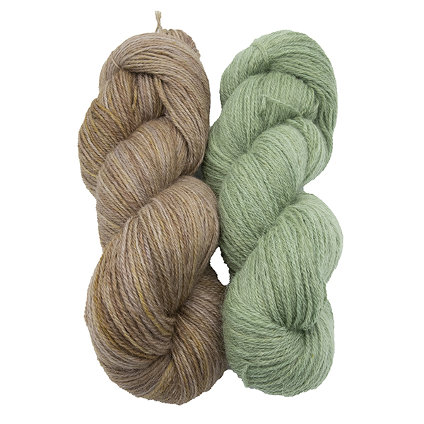 skeins of hand dyed yarn - silver marigold and silver hellebore