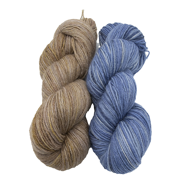 skeins of hand dyed yarn - silver marigold and silver hyacinth
