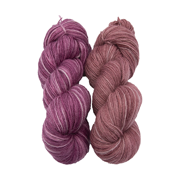 skeins of hand dyed yarn - silver rose and silver geranium