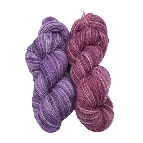 skeins of hand dyed yarn - silver wisteria and silver rose