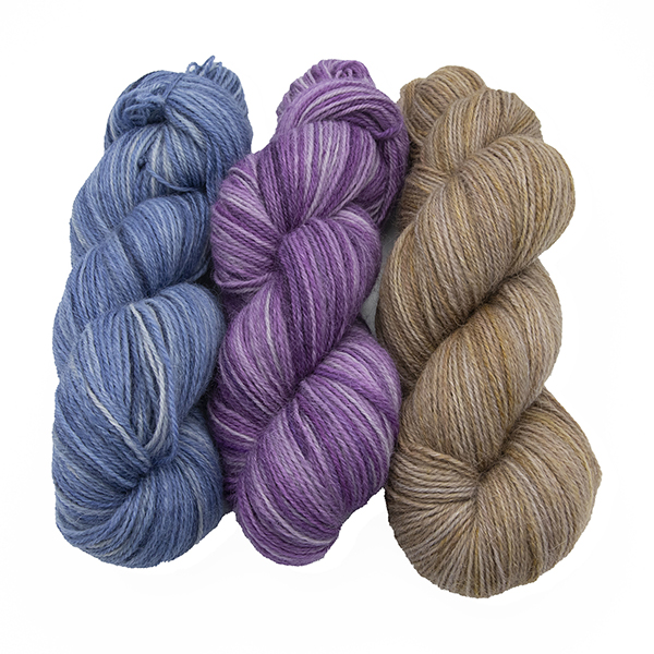 skeins of hand dyed yarn - silver hyacinth, silver wisteria, silver marigold