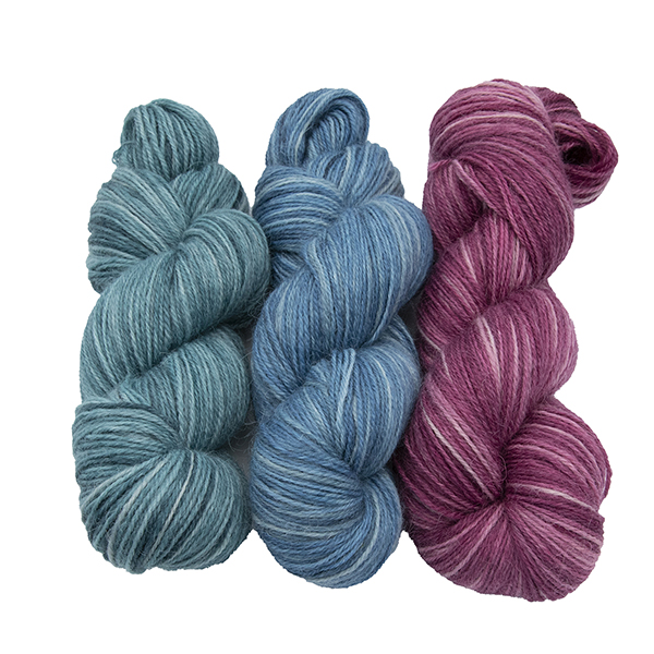 skeins of hand dyed yarn - silver hydrangea, silver bluebell, silver rose