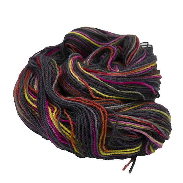 untwisted skein of black with yellow and pink colour hand dyed Britsock yarn from The Knitting Goddess