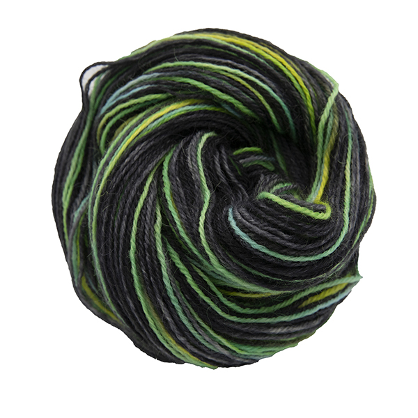 untwisted skein of black with turquoise and yellow colour hand dyed Britsock yarn from The Knitting Goddess