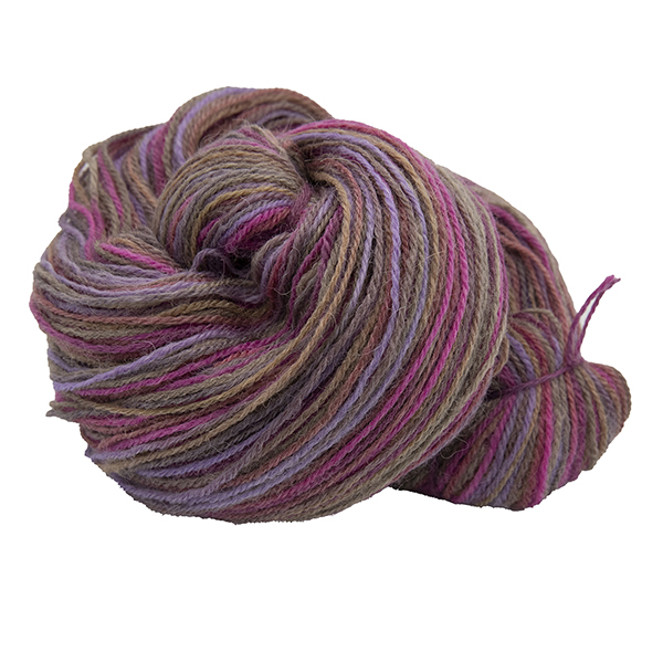 untwisted skein of chocolate box colour hand dyed Britsock yarn with browns, pink and purple from The Knitting Goddess