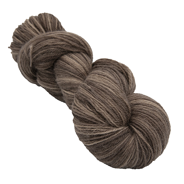skein of chocolate brown colour hand dyed Britsock yarn from The Knitting Goddess