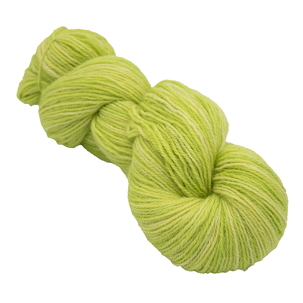 skein of extra lime colour hand dyed Britsock yarn from The Knitting Goddess