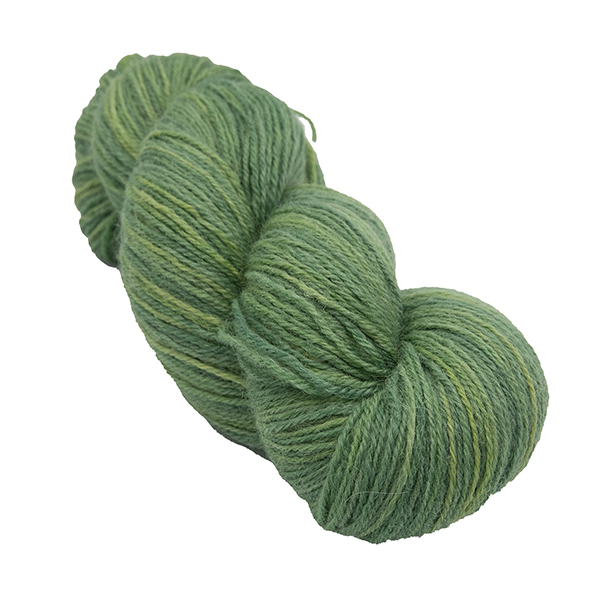 skein of olive green colour hand dyed Britsock yarn from The Knitting Goddess