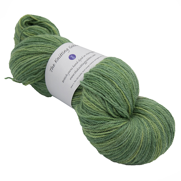 skein of olive green colour hand dyed Britsock yarn from The Knitting Goddess with ball band