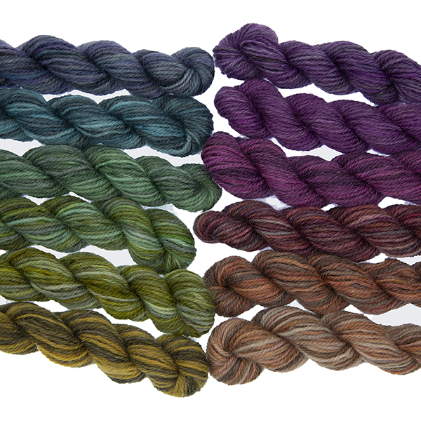 Set of twelve semi solid colours of Britsock mini skeins making up a colour wheel of 12 printer ink shades displayed as two lines