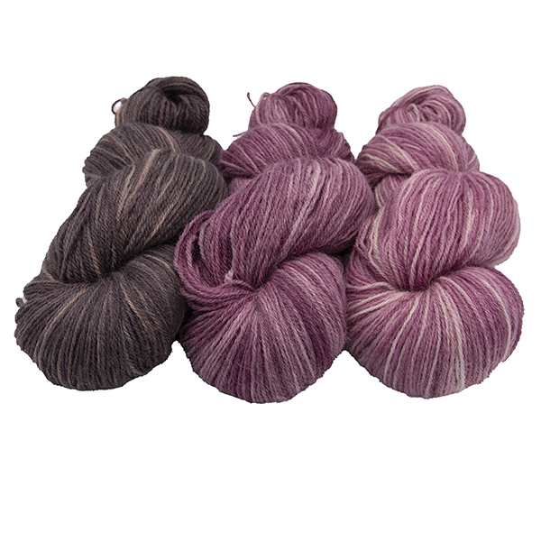 three skeins of hand dyed yarn in bramble, plum and dog rose (mid pink) semi solid colours, arranged in a row
