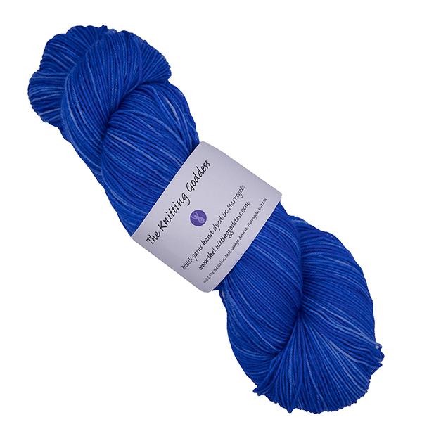 skein of blue hand dyed yarn