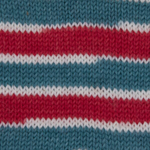candy cane yarn red and green broad stripes separated by narrow stripes of white sample showing how it knits up.