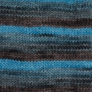 chocquoise yarn chocolate brown, brown with a hint of turquoise, turquoise with a hint of brown, turquoise sample showing how it knits up.