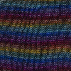 dark rainbow yarn red, orange, yellow, green, turquoise, blue, violet and pink all overdyed with black .Sample showing how it knits up.