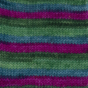 flower power yarn,bright pink, jade, lime and olive green .Sample showing how it knits up.