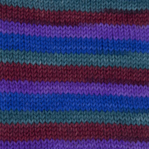 jewel thief yarn,purple, ruby red, green and blue .Sample showing how it knits up.