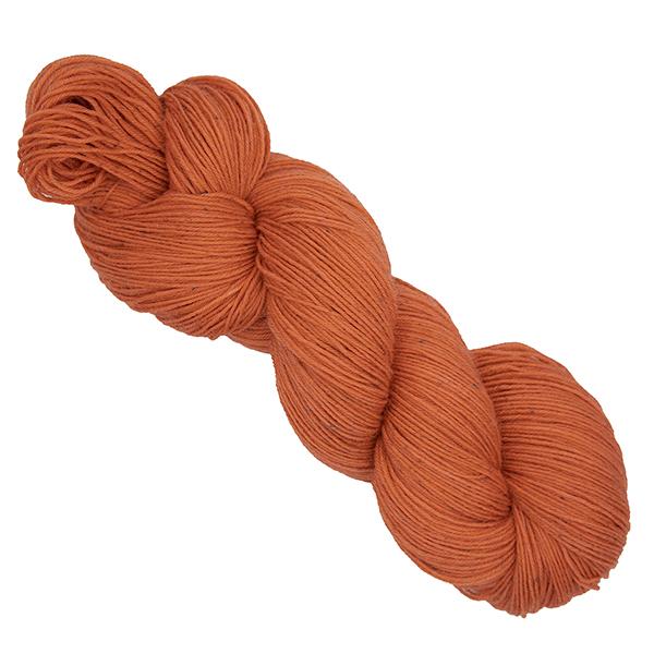 skein of orange hand dyed yarn