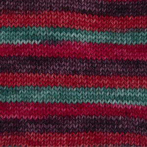poinsettia yarn, red, burgundy, scarlet, olive green .sample showing how it knits up.