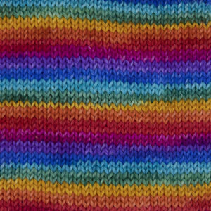 rainbow yarn, red, orange. yellow, green, turquoise,blue, violet, pink .Sample showing how it knits up.