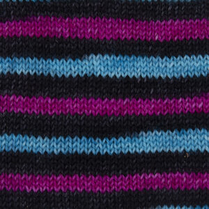 spogs yarn, pink, black, turquoise and black again .Sample showing how it knits up.